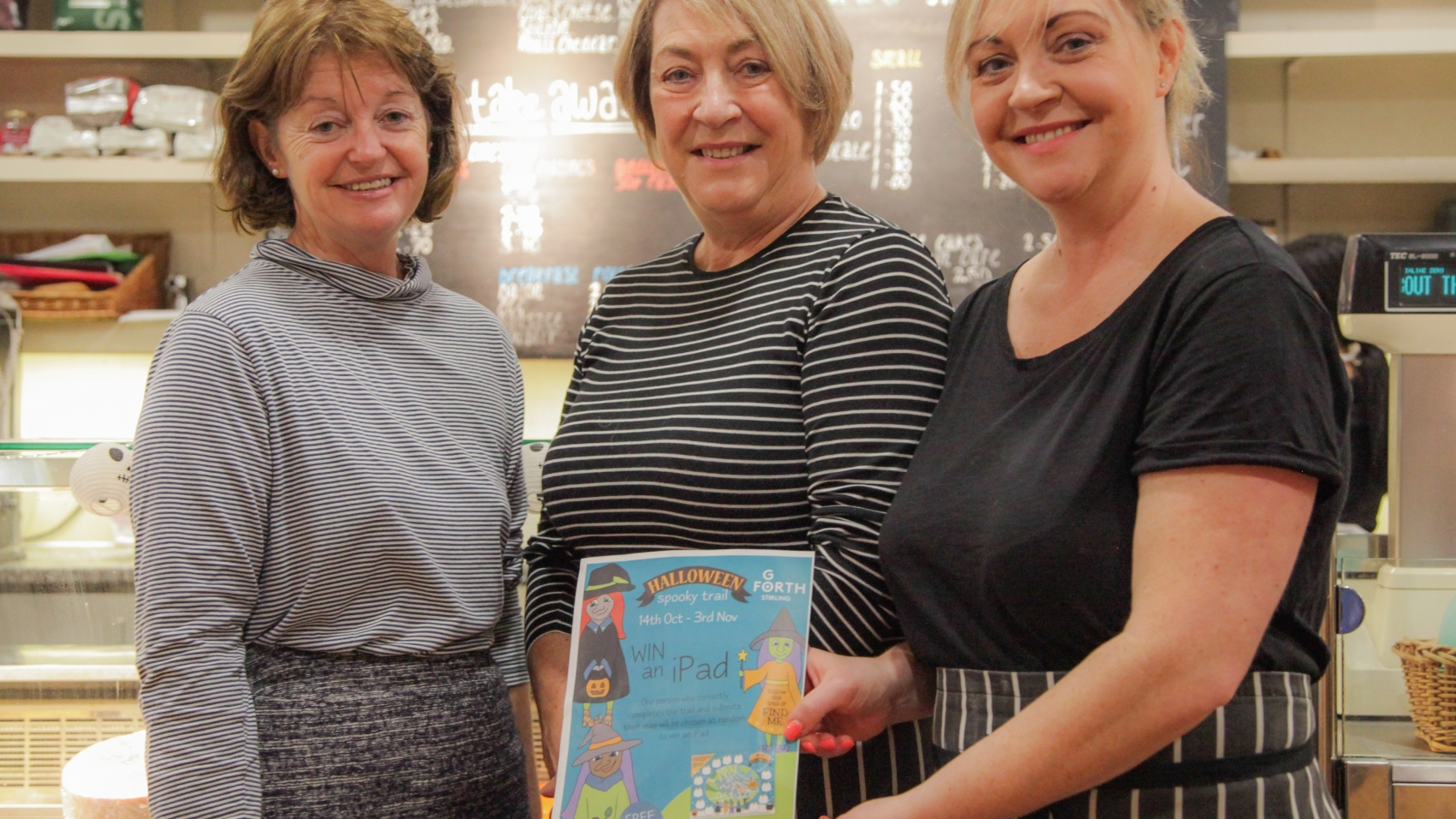 Getting Ready for The Halloween Trail - Go Forth Stirling Manager Mags Fenner with Irene Williams and Leanne Wilson who run The Pend Cafe (left to right)